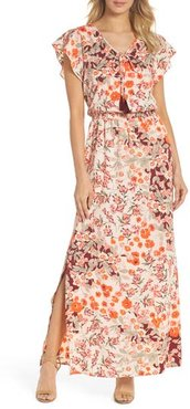Petite Women's Adrianna Papell Floral Ruffle Sleeve Maxi Dress, Size 14P - Red