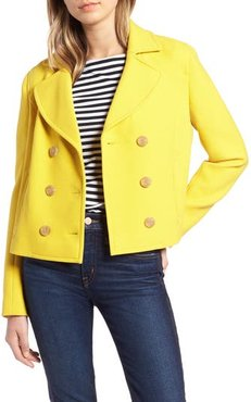 1901 Cropped Peacoat, Size X-Large - Yellow