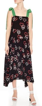 Floral Hearts Tie Strap Midi Dress, Size 4 US / 36 FR - Black