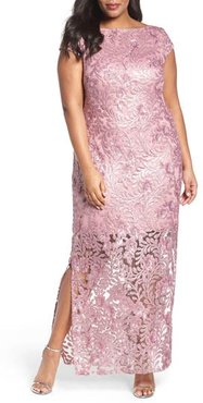 Plus Size Women's Brianna Sequin Lace Column Gown, Size 22W - Pink