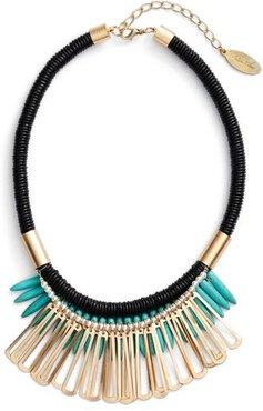 Spike Stone Statement Bib Necklace