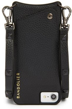 Sarah Leather Iphone 6/7/8 & 6/7/8 Plus Crossbody Case - Black