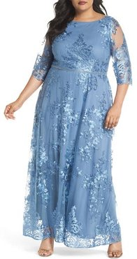 Plus Size Women's Brianna Embroidered Mesh A-Line Gown