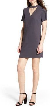 Bishop + Young Shasha Choker Shift Dress, Size Small - Blue