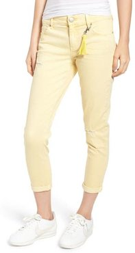 Distressed Roll Cuff Skinny Jeans, Size 3 - Yellow