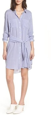 Bishop + Young Stripe Tie Waist Shirtdress, Size Medium - Blue