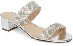 Georgea Crystal Embellished Slide Sandal, Size 9.5 M - Metallic