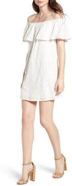 Bishop + Young Eyelet Ruffle Off The Shoulder Dress, Size Medium - White