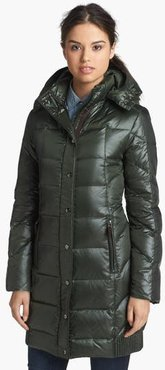Down Coat With Detachable Hood, Size Small - Green
