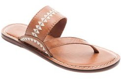 Bernardo Mary Embroidered Slide Thong, Size 8.5 M - Brown