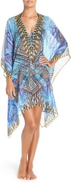'Fiji' Short Kaftan, Size Medium - Blue