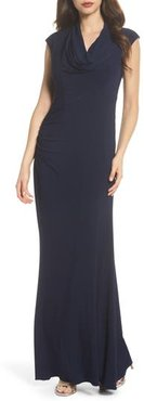 Draped Jersey Maxi Dress, Size 14 - Blue