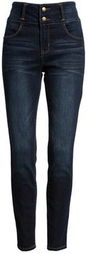 Double Stacked Waistband High Waist Skinny Jeans, Size 9 - Blue