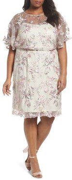 Plus Size Women's Brianna Embroidered Blouson Dress, Size 20W - Beige