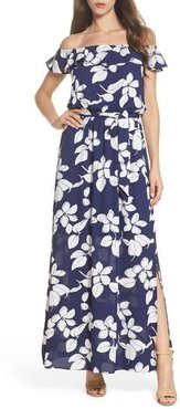Petite Women's Adrianna Papell Off The Shoulder Ruffle Maxi Dress, Size 2P - Blue