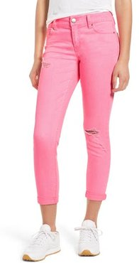 Distressed Roll Cuff Skinny Jeans, Size 1 - Pink