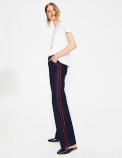 Windsor Wide Leg Jeans Indigo with Piping Women Boden