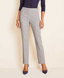 The Side-Zip Ankle Pant in Pinstripe Bi-Stretch