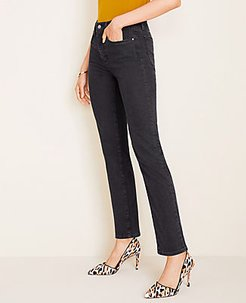 Petite Sculpting Pockets High Rise Straight Leg Jeans in Black Wash