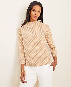 Chain Link Button Neck Top