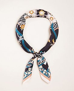 Pearlized Floral Silk Little Scarf