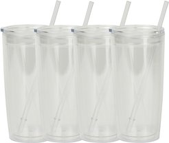Set of 4 20oz Tumblers with Straws