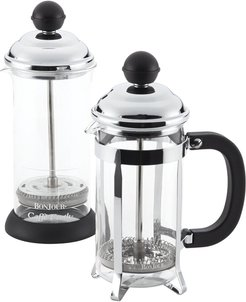 Coffee Borosilicate Glass French Press & Milk Frother Set
