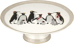 Sara Miller London For Portmeirion Christmas Penguin 10.5in Footed Cake Plate