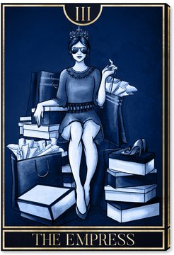 OliverGal The Empress Tarot BLUE Canvas Art