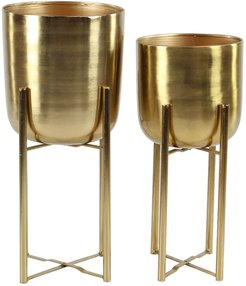 Set Of 2 Gold Planters With Stands