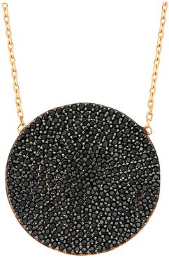 18K Rose Gold Plated CZ Black Disk Circle Necklace