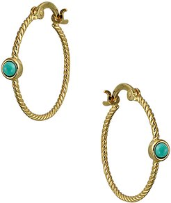 14K Yellow Gold  Over Silver Twisted Chic Hoops