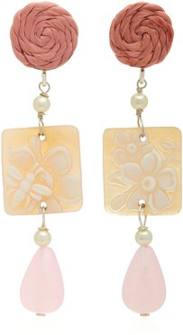 Shell Stone And Silver-Plated Earrings