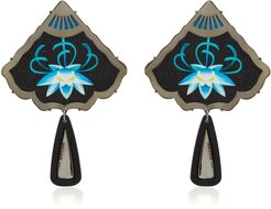 Silver And Black Rhodium-Plated Embroidered Resin Earrings