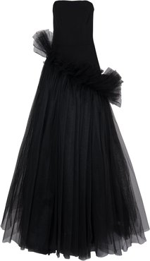 Ivy Black Tulle Asymmetrical Gown