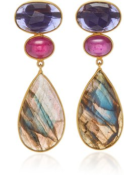 18K Gold Iolith, Ruby and Labradorite Earrings