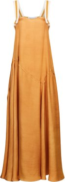 Paneled Silk Twill Maxi Dress