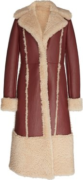 Fitted Leather Coat With Shearling Panels