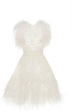Feather Embroidered Tulle Cocktail Dress Size: 34
