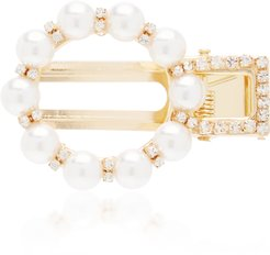 Faux Pearl and Crystal-Embellished Hair Clip
