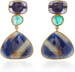18K Gold, Sapphire and Emerald Earrings