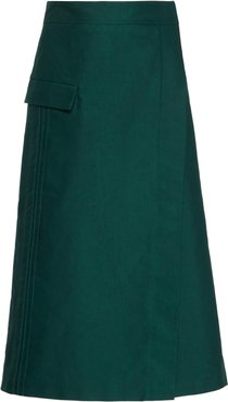 Neo Wrap-Effect Cotton Skirt