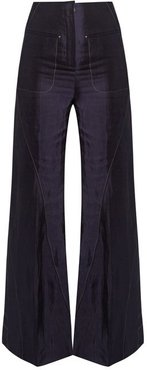 High Rise Flared Charmeuse Trousers - Womens - Navy