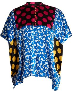 Ivy Contrast Panel Silk Top - Womens - Multi