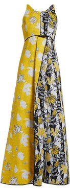 Tropical Floral-jacquard Gown - Womens - Yellow Multi