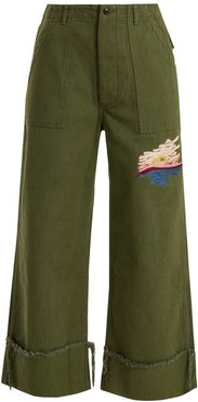 Sunset-embroidered Cropped Cotton-drill Trousers - Womens - Khaki