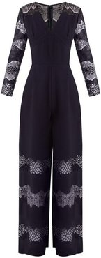 Faye Lace Panelled Crepe Jumpsuit - Womens - Navy