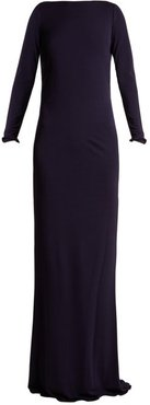Ava Crystal Embellished Jersey Gown - Womens - Navy