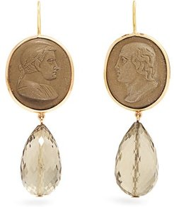 Quartz And Yellow Gold Earrings - Womens - Green