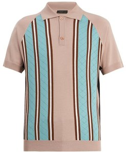 Point Collar Striped Knit Wool Polo Shirt - Mens - Pink Multi